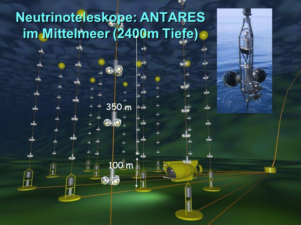 Orientierungseinheit SS2005Was ist Physik?Caren Hagner, Universität Hamburg Neutrinoteleskope: ANTARES im Mittelmeer (2400m Tiefe) 350 m 100 m