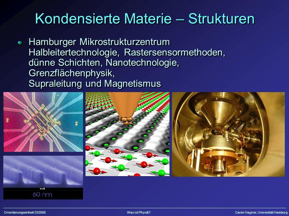 Orientierungseinheit SS2005Was ist Physik?Caren Hagner, Universität Hamburg Kondensierte Materie – Strukturen Hamburger Mikrostrukturzentrum Halbleitertechnologie, Rastersensormethoden, dünne Schichten, Nanotechnologie, Grenzflächenphysik, Supraleitung und Magnetismus