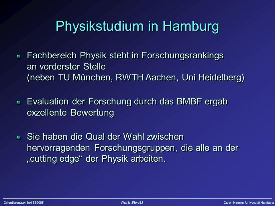 Orientierungseinheit SS2005Was ist Physik?Caren Hagner, Universität Hamburg Physikstudium in Hamburg Fachbereich Physik steht in Forschungsrankings an