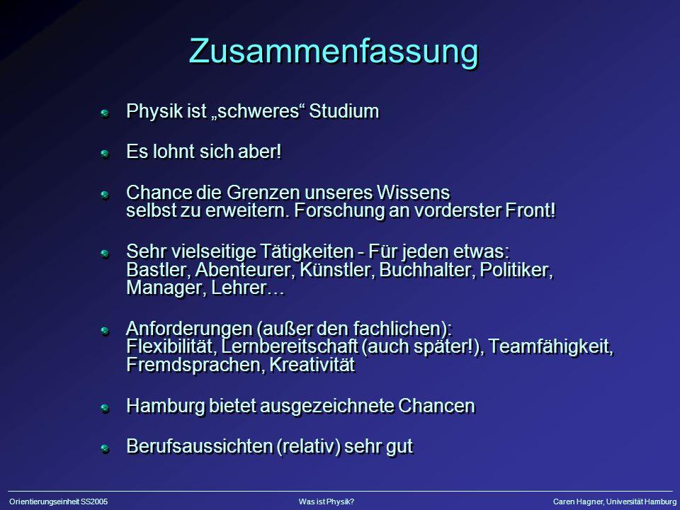 Orientierungseinheit SS2005Was ist Physik?Caren Hagner, Universität Hamburg Zusammenfassung Physik ist schweres Studium Es lohnt sich aber! Chance die