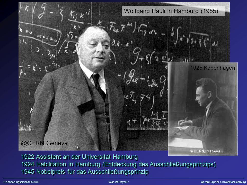 Orientierungseinheit SS2005Was ist Physik?Caren Hagner, Universität Hamburg @CERN Geneva 1925 Kopenhagen Wolfgang Pauli in Hamburg (1955) 1922 Assistent an der Universität Hamburg 1924 Habilitation in Hamburg (Entdeckung des Ausschließungsprinzips) 1945 Nobelpreis für das Ausschließungsprinzip