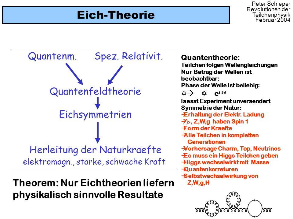 Peter Schleper Revolutionen der Teilchenphysik Februar 2004 Eich-Theorie Quantenm. Spez. Relativit. Quantenfeldtheorie Eichsymmetrien Herleitung der N