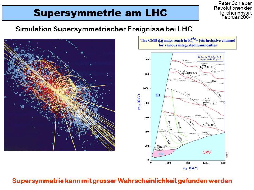 Peter Schleper Revolutionen der Teilchenphysik Februar 2004 Supersymmetrie am LHC Simulation Supersymmetrischer Ereignisse bei LHC Supersymmetrie kann