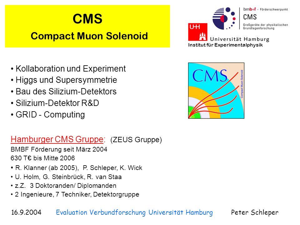 16.9.2004 Evaluation Verbundforschung Universität Hamburg Peter Schleper Institut für Experimentalphysik CMS Compact Muon Solenoid Projekt mit der höchsten Priorität für die Teilchenphysik Proton-Proton Streuung höchste Energien (14 TeV, Faktor 7) höchste Ereignisraten (Faktor 100) Start: 2007 Large Hadron Collider LHC am CERN 36 Nationen 160 Institute 2000 Physiker CMS