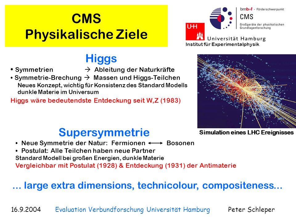 16.9.2004 Evaluation Verbundforschung Universität Hamburg Peter Schleper Institut für Experimentalphysik CMS Physikalische Ziele Higgs Symmetrien Able