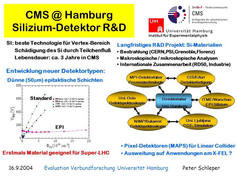 16.9.2004 Evaluation Verbundforschung Universität Hamburg Peter Schleper Institut für Experimentalphysik CMS @ Hamburg Physik-Analyse 100 Ereignisse Entdeckungs- Potential bis zu mehreren 1000 GeV S-LHC HERA-LHC workshop zur QCD: Proton-Struktur und W +, W - rate Supersymmetrie mit Gravitinos LHC + Linear Collider: Bestimmung aller SUSY Parameter LHC