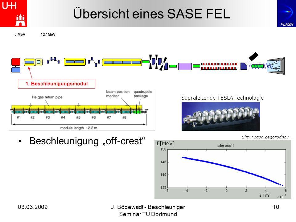 03.03.2009J. Bödewadt - Beschleuniger Seminar TU Dortmund 10 Übersicht eines SASE FEL 1. Beschleunigungsmodul 5 MeV127 MeV Beschleunigung off-crest E[