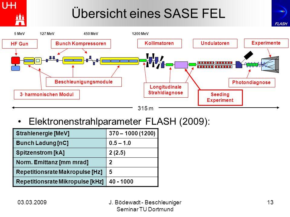 03.03.2009J. Bödewadt - Beschleuniger Seminar TU Dortmund 13 Übersicht eines SASE FEL 315 m HF Gun Longitudinale Strahldiagnose 3. harmonischen Modul