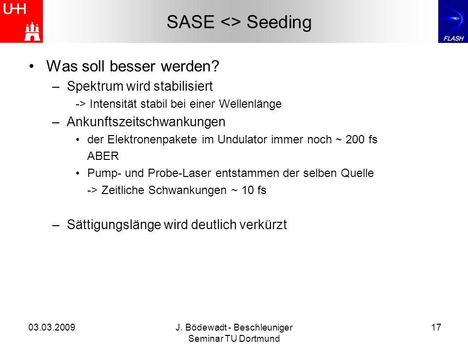 03.03.2009J. Bödewadt - Beschleuniger Seminar TU Dortmund 17 SASE <> Seeding Was soll besser werden? –Spektrum wird stabilisiert -> Intensität stabil
