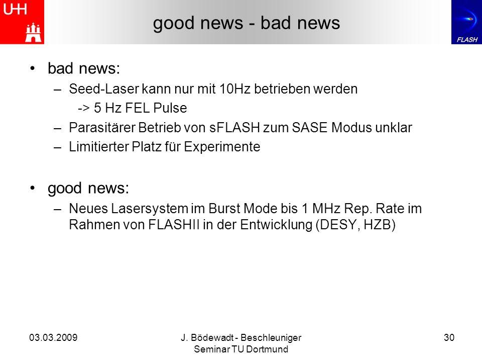 03.03.2009J. Bödewadt - Beschleuniger Seminar TU Dortmund 30 good news - bad news bad news: –Seed-Laser kann nur mit 10Hz betrieben werden -> 5 Hz FEL