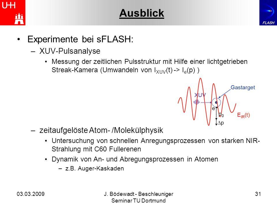 03.03.2009J. Bödewadt - Beschleuniger Seminar TU Dortmund 31 Ausblick Experimente bei sFLASH: –XUV-Pulsanalyse Messung der zeitlichen Pulsstruktur mit