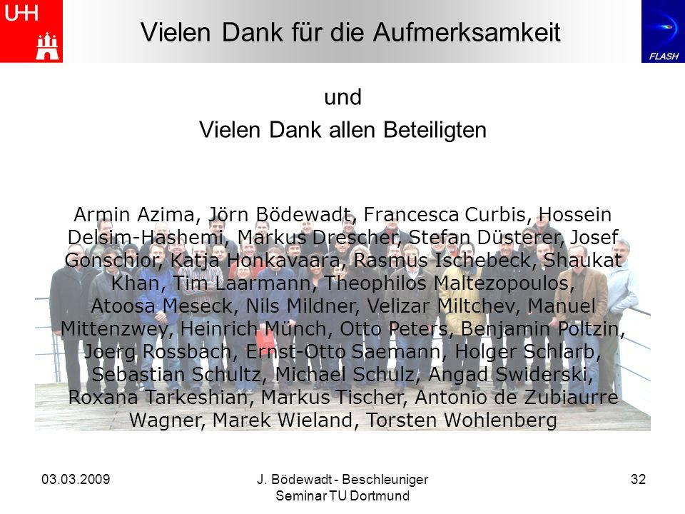 03.03.2009J. Bödewadt - Beschleuniger Seminar TU Dortmund 32 Vielen Dank für die Aufmerksamkeit und Vielen Dank allen Beteiligten Armin Azima, Jörn Bö