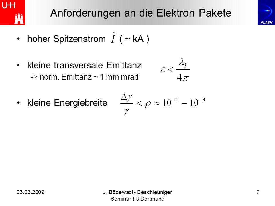03.03.2009J. Bödewadt - Beschleuniger Seminar TU Dortmund 7 hoher Spitzenstrom ( ~ kA ) kleine transversale Emittanz -> norm. Emittanz ~ 1 mm mrad kle