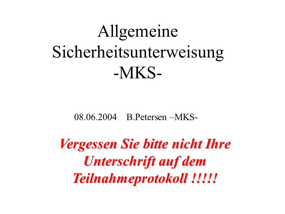 MKS-Sicherheitsorganisation Gruppenleiter (verantwortliche Person): B.Petersen (Vertreter H.Lierl) Gebietsverantwortliche: Werkstattleiter: MKS1-HERA: H.Lierl (Geb.54) J.Jochheim MKS1-TTF: K.Jensch (Halle 3) O.Paschold MKS1-CTA: D.Sellmann MKS2: M.Clausen (Geb.55) E.Gadwinkel MKS3: A.Matheisen (Geb.55) Chr.Hagedorn MKS4: H.Brück (Geb.55) H.Morales MKS-Anlagenverantworlicher elektrische Anlagen: MKS-Anlagenverantworlicher elektrische Anlagen: S.Molnar in allen MKS-Breichen gibt es benannte Vertreter und Schaltberechtigte