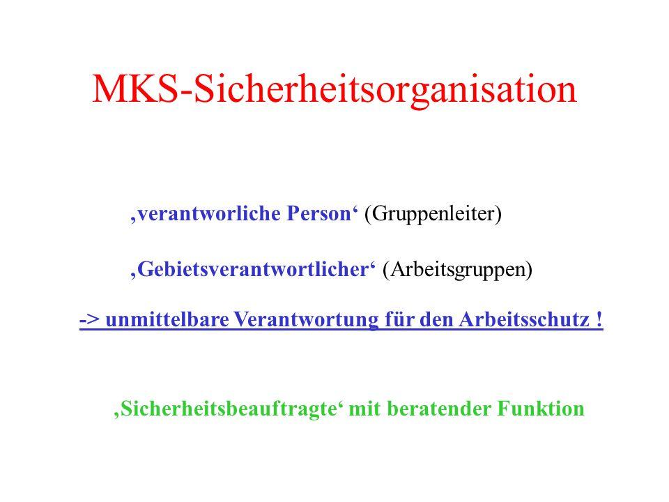 MKS-Sicherheitsorganisation verantworliche Person (Gruppenleiter) Gebietsverantwortlicher (Arbeitsgruppen) -> unmittelbare Verantwortung für den Arbei