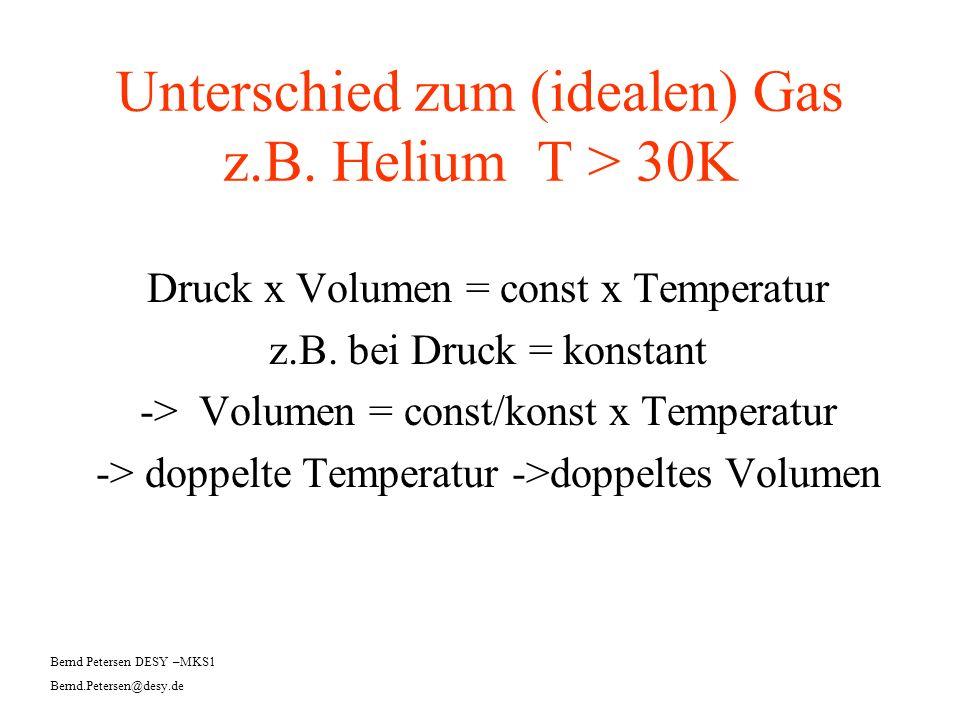 Unterschied zum (idealen) Gas z.B. Helium T > 30K Druck x Volumen = const x Temperatur z.B. bei Druck = konstant -> Volumen = const/konst x Temperatur