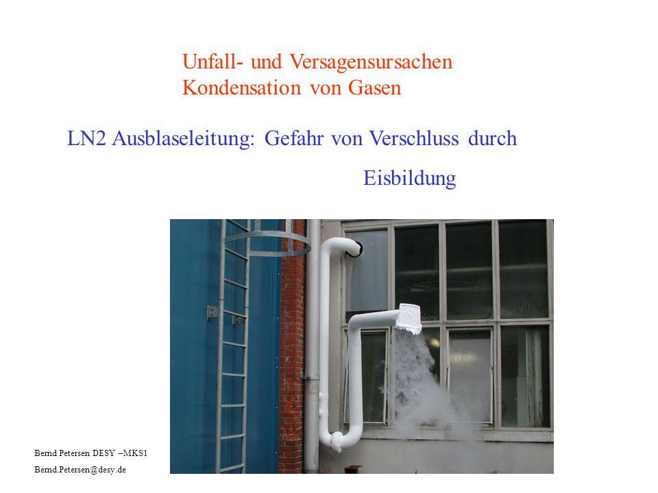 Unfall- und Versagensursachen Kondensation von Gasen LN2 Ausblaseleitung: Gefahr von Verschluss durch Eisbildung Bernd Petersen DESY –MKS1 Bernd.Peter