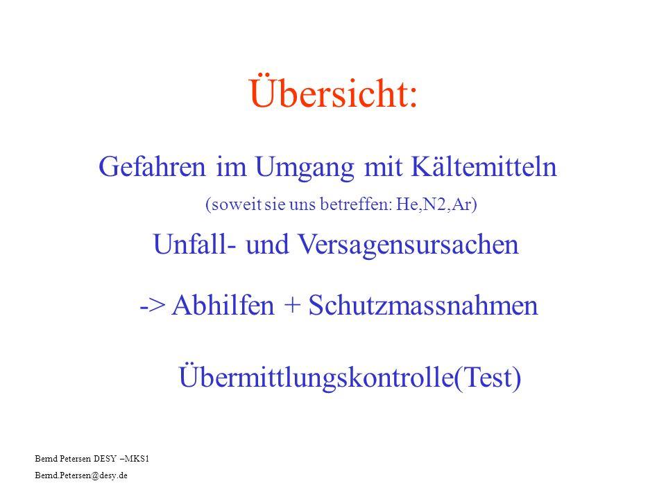 Übersicht: Gefahren im Umgang mit Kältemitteln Bernd Petersen DESY –MKS1 Bernd.Petersen@desy.de (soweit sie uns betreffen: He,N2,Ar) Unfall- und Versa