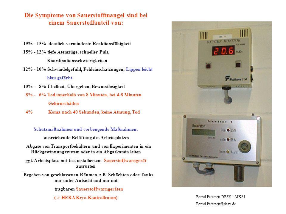 Die Symptome von Sauerstoffmangel sind bei einem Sauerstoffanteil von: 19% - 15% deutlich verminderte Reaktionsfähigkeit 15% - 12% tiefe Atemzüge, sch