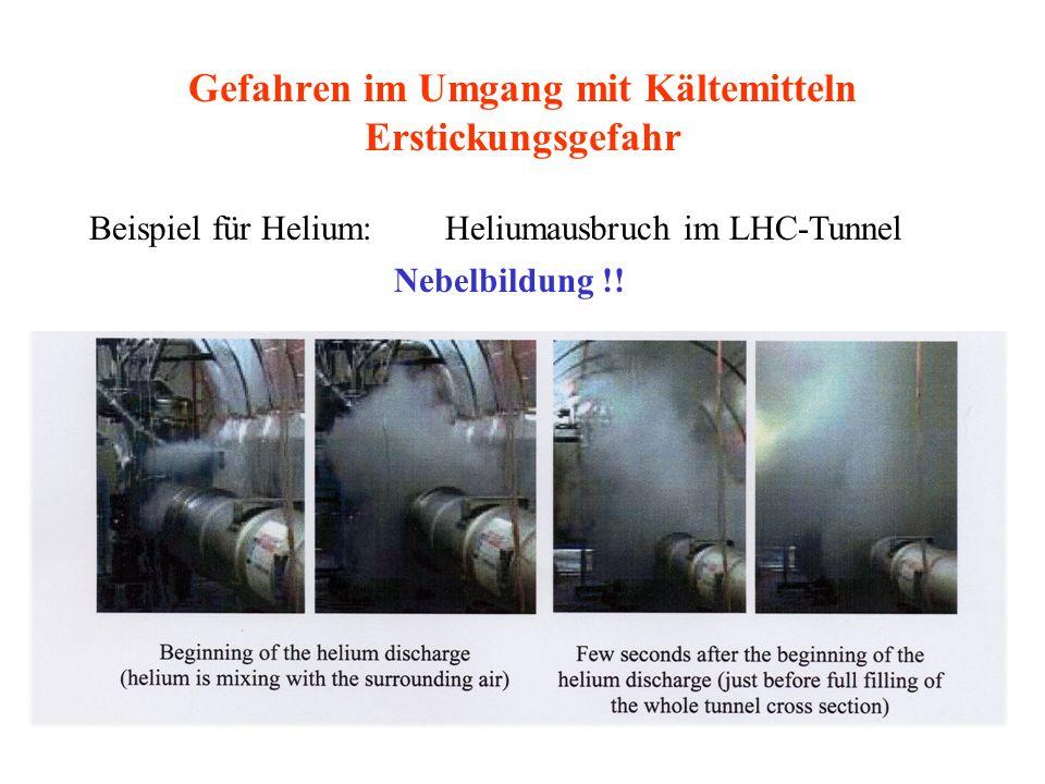Gefahren im Umgang mit Kältemitteln Erstickungsgefahr Beispiel für Helium: Heliumausbruch im LHC-Tunnel Nebelbildung !!