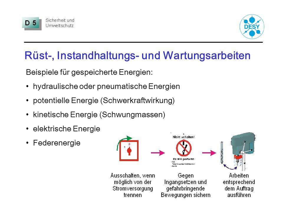 Rüst-, Instandhaltungs- und Wartungsarbeiten Beispiele für gespeicherte Energien: hydraulische oder pneumatische Energien potentielle Energie (Schwerk
