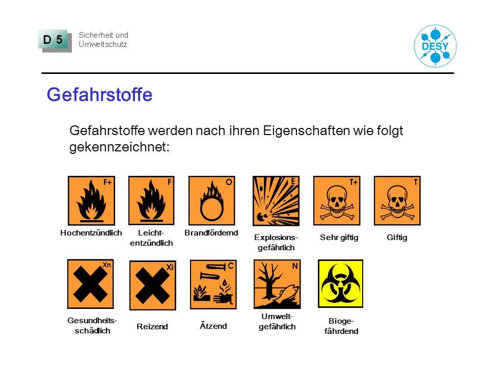 Gefahrstoffe Gefahrstoffe werden nach ihren Eigenschaften wie folgt gekennzeichnet: Sehr giftigGiftig Hochentzündlich Explosions- gefährlich Leicht- e