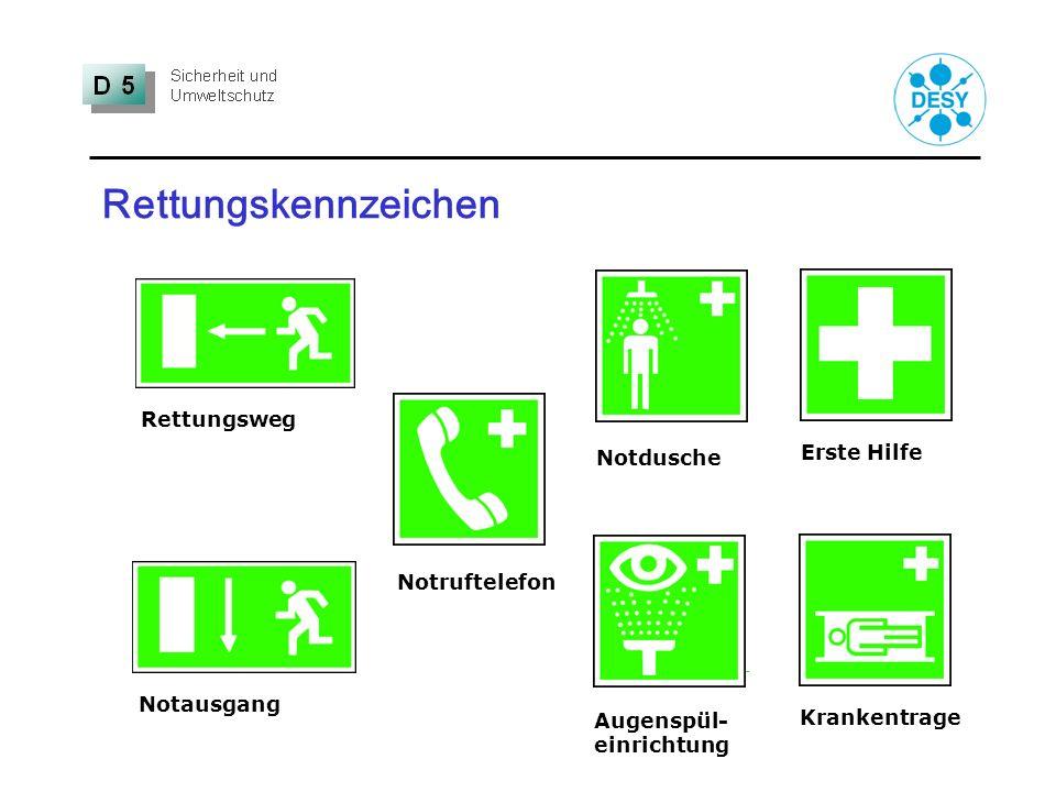 Rettungskennzeichen Krankentrage Erste Hilfe Notruftelefon Augenspül- einrichtung Notdusche Notausgang Rettungsweg