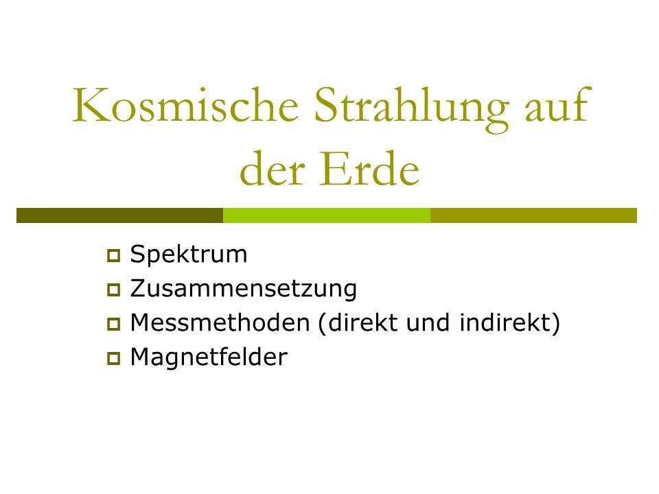 Kosmische Strahlung auf der Erde Spektrum Zusammensetzung Messmethoden (direkt und indirekt) Magnetfelder