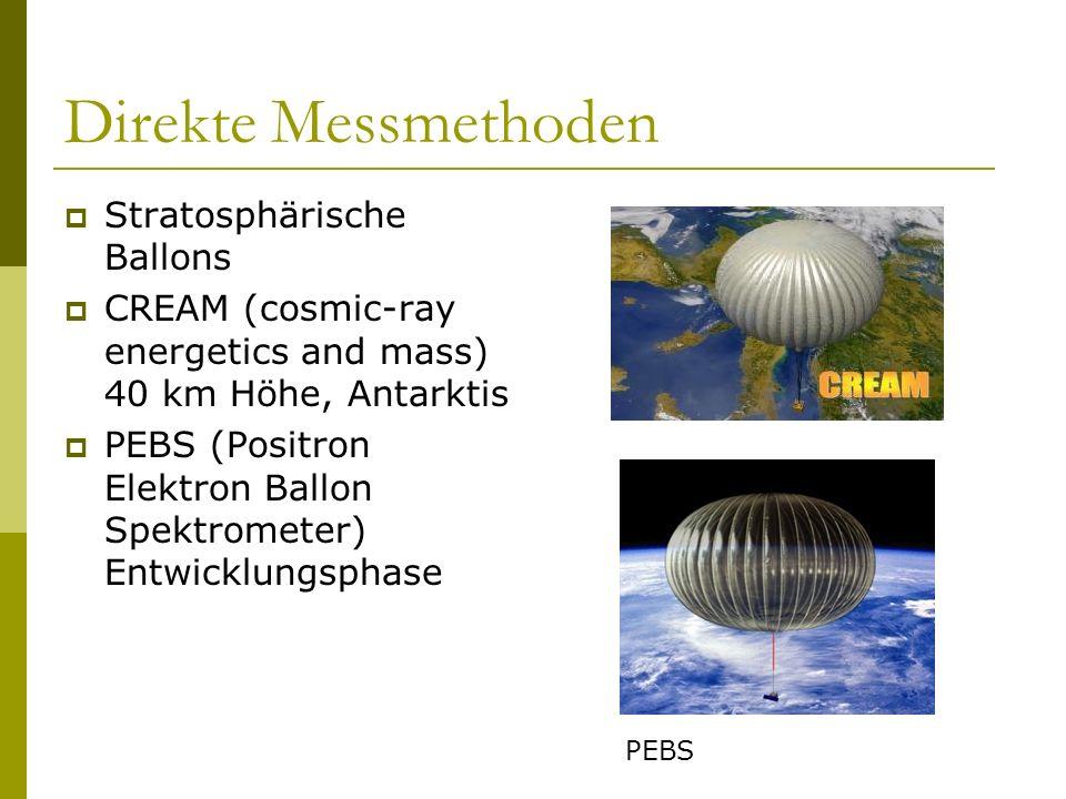 Direkte Messmethoden Stratosphärische Ballons CREAM (cosmic-ray energetics and mass) 40 km Höhe, Antarktis PEBS (Positron Elektron Ballon Spektrometer