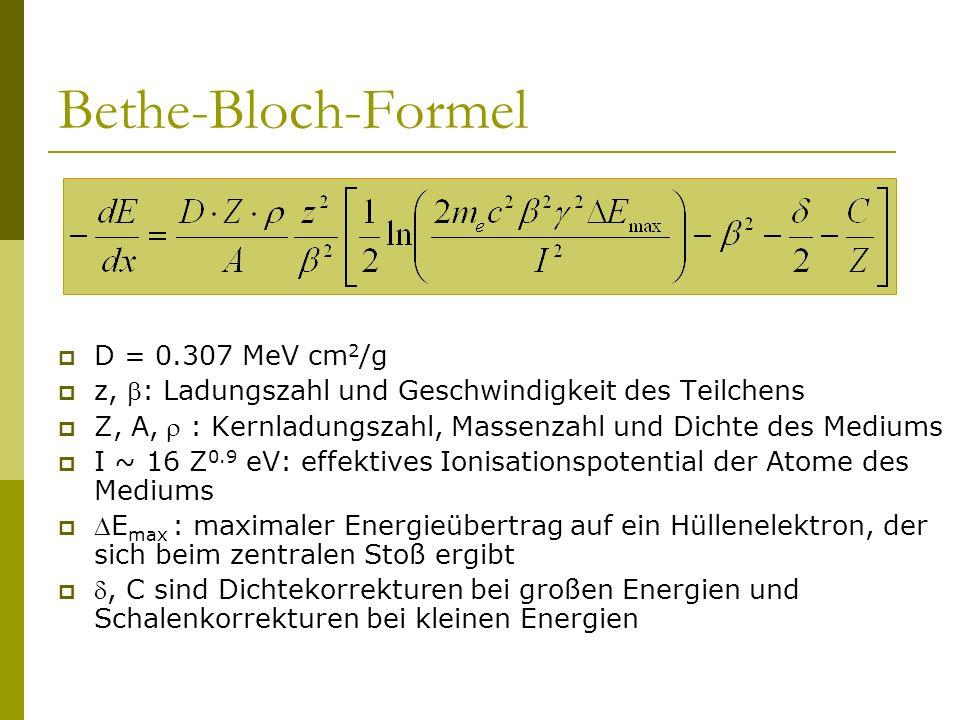 Bethe-Bloch-Formel D = 0.307 MeV cm 2 /g z, : Ladungszahl und Geschwindigkeit des Teilchens Z, A, : Kernladungszahl, Massenzahl und Dichte des Mediums