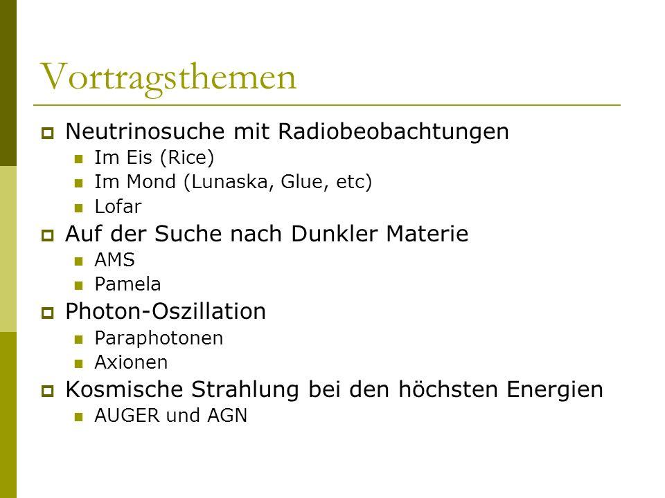 Vortragsthemen Neutrinosuche mit Radiobeobachtungen Im Eis (Rice) Im Mond (Lunaska, Glue, etc) Lofar Auf der Suche nach Dunkler Materie AMS Pamela Pho