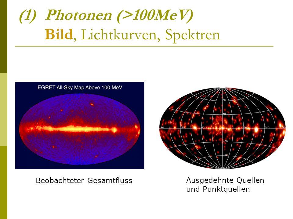 (1)Photonen (>100MeV) Bild, Lichtkurven, Spektren Beobachteter Gesamtfluss Ausgedehnte Quellen und Punktquellen
