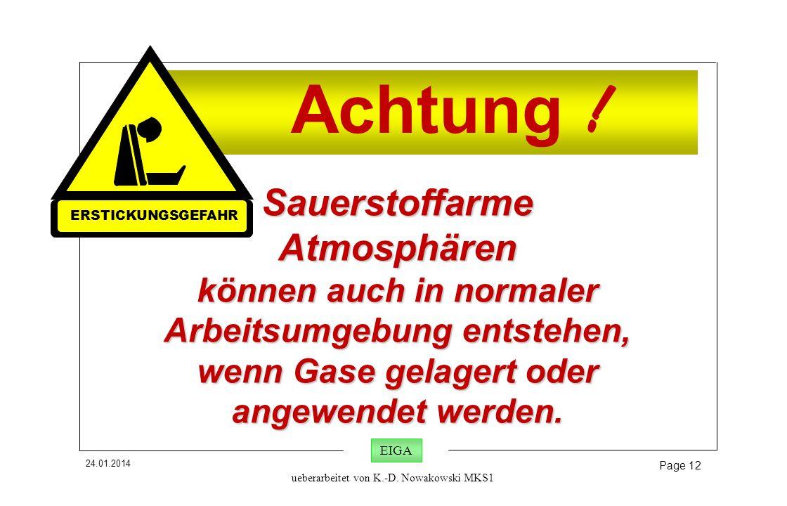 24.01.2014 Page 12 EIGA ueberarbeitet von K.-D. Nowakowski MKS1 Achtung ! Sauerstoffarme Atmosphären können auch in normaler Arbeitsumgebung entstehen