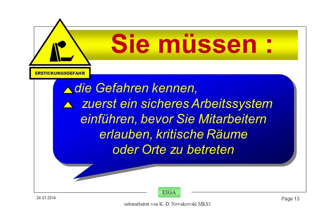 24.01.2014 Page 13 EIGA ueberarbeitet von K.-D. Nowakowski MKS1 Sie müssen : die Gefahren kennen, zuerst ein sicheres Arbeitssystem einführen, bevor S
