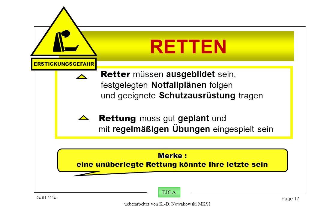 24.01.2014 Page 17 EIGA ueberarbeitet von K.-D. Nowakowski MKS1 RETTEN Retter müssen ausgebildet sein, festgelegten Notfallplänen folgen und geeignete