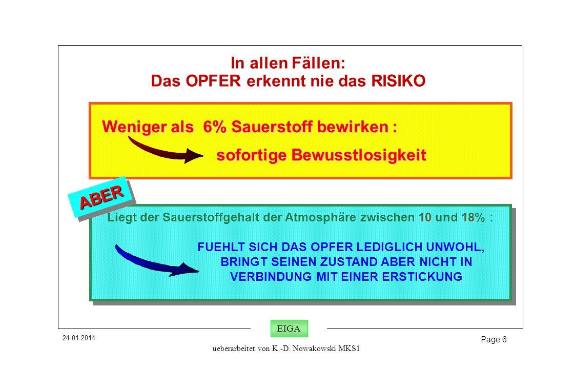 24.01.2014 Page 6 EIGA ueberarbeitet von K.-D. Nowakowski MKS1 Weniger als 6% Sauerstoff bewirken : Weniger als 6% Sauerstoff bewirken : sofortige Bew