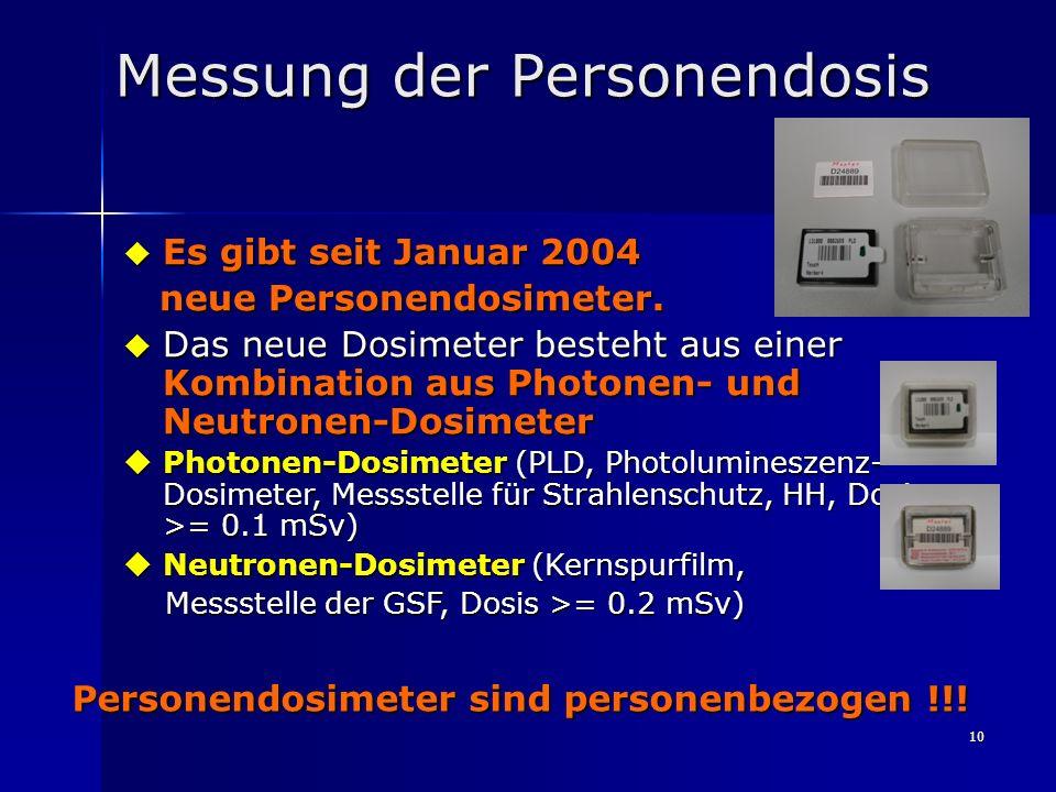 10 Messung der Personendosis Es gibt seit Januar 2004 Es gibt seit Januar 2004 neue Personendosimeter. neue Personendosimeter. Das neue Dosimeter best