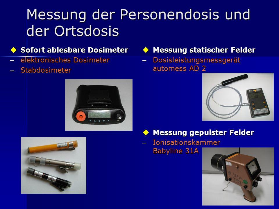 11 Messung der Personendosis und der Ortsdosis Sofort ablesbare Dosimeter Sofort ablesbare Dosimeter – elektronisches Dosimeter – Stabdosimeter Messun