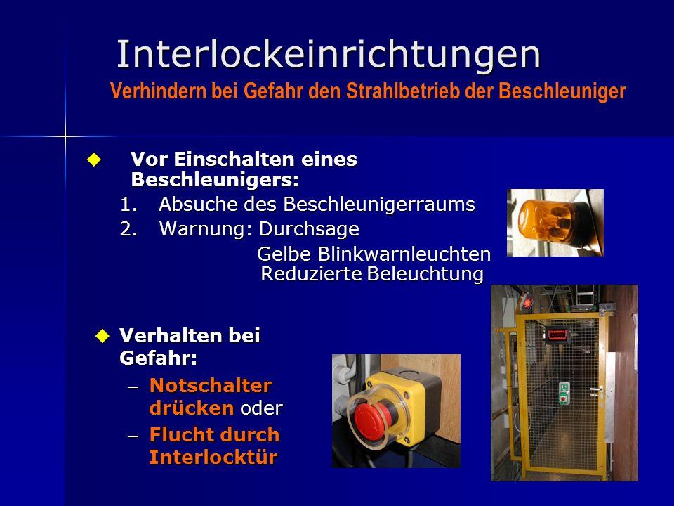 13 Interlockeinrichtungen Vor Einschalten eines Beschleunigers: Vor Einschalten eines Beschleunigers: 1.Absuche des Beschleunigerraums 2.Warnung: Durc
