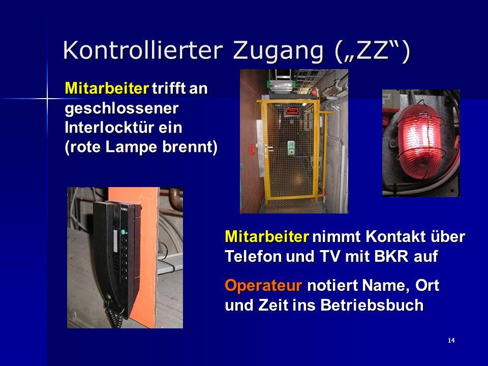 14 Kontrollierter Zugang (ZZ) Mitarbeiter trifft an geschlossener Interlocktür ein (rote Lampe brennt) Mitarbeiter nimmt Kontakt über Telefon und TV m