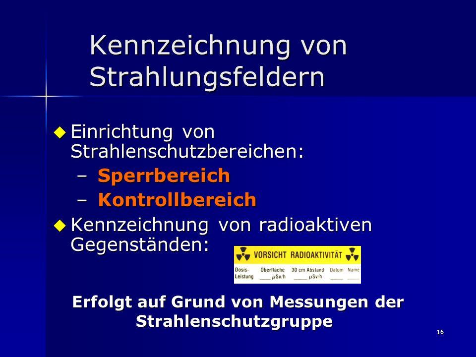 16 Kennzeichnung von Strahlungsfeldern Einrichtung von Strahlenschutzbereichen: Einrichtung von Strahlenschutzbereichen: – Sperrbereich – Kontrollbere