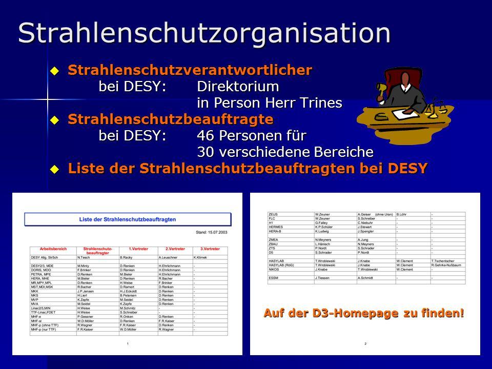 7 Strahlenschutzorganisation Strahlenschutzverantwortlicher Strahlenschutzverantwortlicher bei DESY: Direktorium in Person Herr Trines Strahlenschutzb