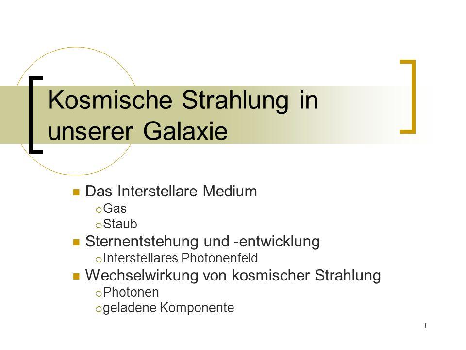 1 Kosmische Strahlung in unserer Galaxie Das Interstellare Medium Gas Staub Sternentstehung und -entwicklung Interstellares Photonenfeld Wechselwirkung von kosmischer Strahlung Photonen geladene Komponente