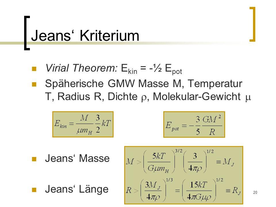 20 Jeans Kriterium Virial Theorem: E kin = -½ E pot Späherische GMW Masse M, Temperatur T, Radius R, Dichte, Molekular-Gewicht Jeans Masse Jeans Länge