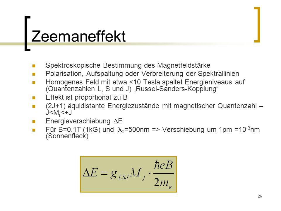 26 Zeemaneffekt Spektroskopische Bestimmung des Magnetfeldstärke Polarisation, Aufspaltung oder Verbreiterung der Spektrallinien Homogenes Feld mit et
