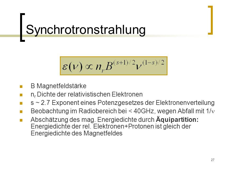 27 Synchrotronstrahlung B Magnetfeldstärke n r Dichte der relativistischen Elektronen s ~ 2.7 Exponent eines Potenzgesetzes der Elektronenverteilung B