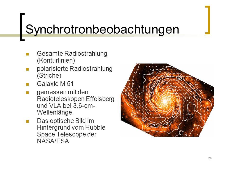 28 Synchrotronbeobachtungen Gesamte Radiostrahlung (Konturlinien) polarisierte Radiostrahlung (Striche) Galaxie M 51 gemessen mit den Radioteleskopen