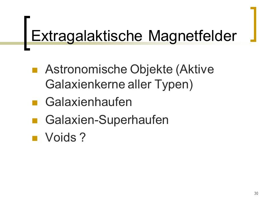 30 Extragalaktische Magnetfelder Astronomische Objekte (Aktive Galaxienkerne aller Typen) Galaxienhaufen Galaxien-Superhaufen Voids ?