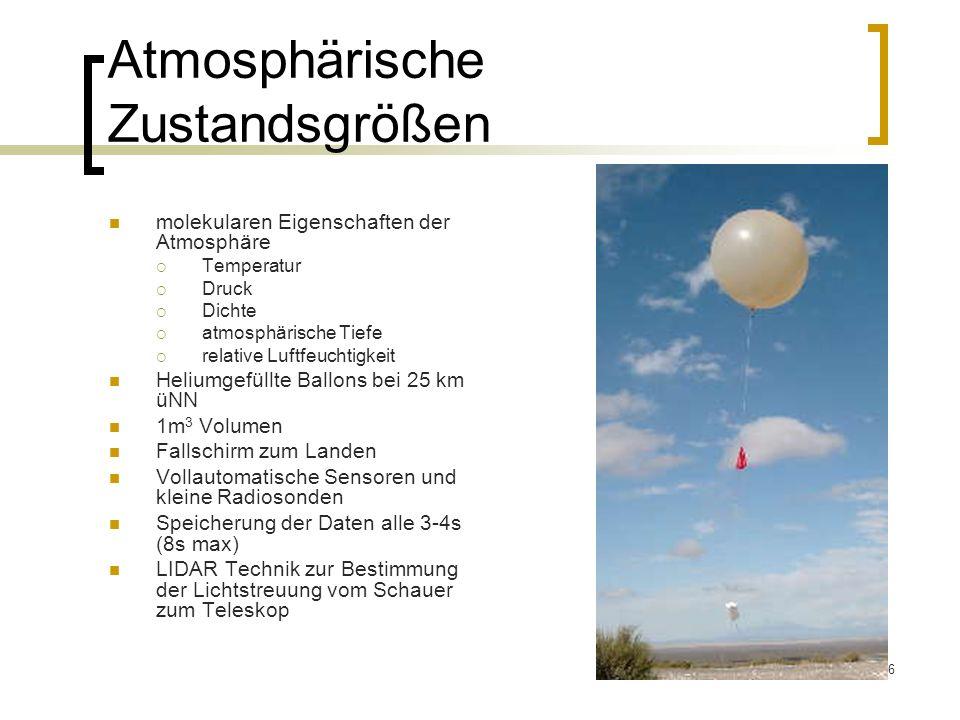 6 Atmosphärische Zustandsgrößen molekularen Eigenschaften der Atmosphäre Temperatur Druck Dichte atmosphärische Tiefe relative Luftfeuchtigkeit Helium
