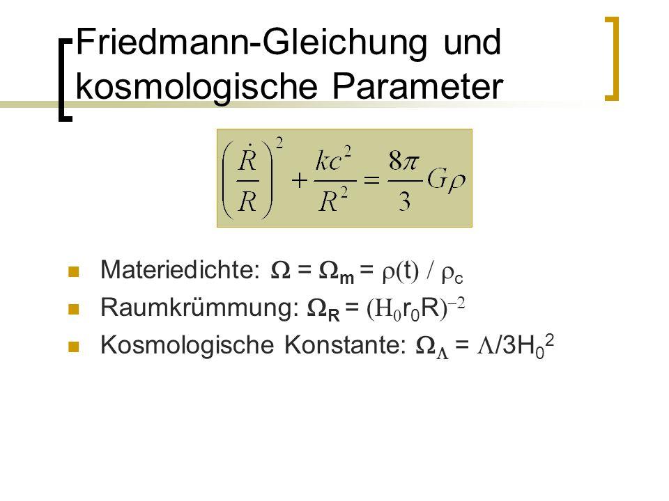 Friedmann-Gleichung und kosmologische Parameter Materiedichte: = m = t c Raumkrümmung: R = r 0 R Kosmologische Konstante: = /3H 0 2